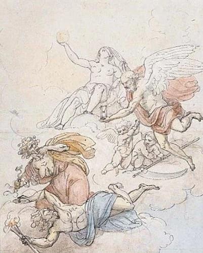 Le Temps et la Vérité détruisant la Discorde et l'Envie, École italienne XVIII°.