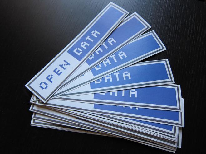 Autocollants Open Data (Crédits : Jonathan Gray, licence Creative Commons)