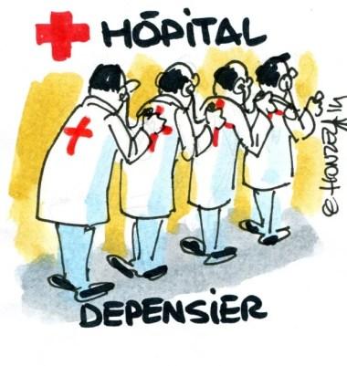 Caricatures hôpital (Crédits : René Le Honzec/Contrepoints, licence Creative Commons)