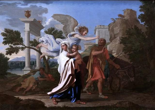 La fuite en Egypte, Nicolas Poussin credits Jean-Louis Mazières (licence creative commons)