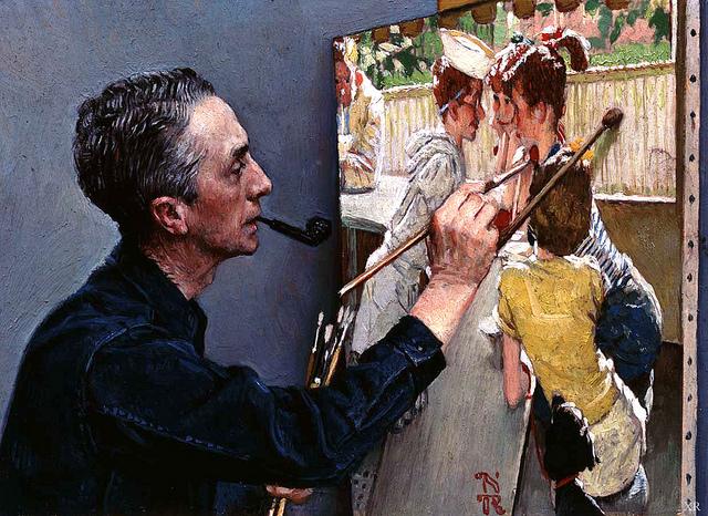 1953 ... 'self-portrait painting soda-jerk' - Norman Rockwell credits James Vaughan  (CC BY-NC-SA 2.0)