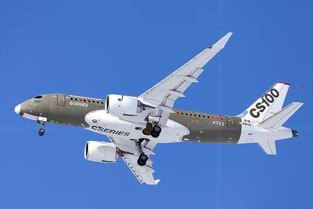 Bombardier C-Series CS100 FTV2 First Flight C-GWYD 50002 credits Patrick Cardinal (CC BY-NC-ND 2.0)