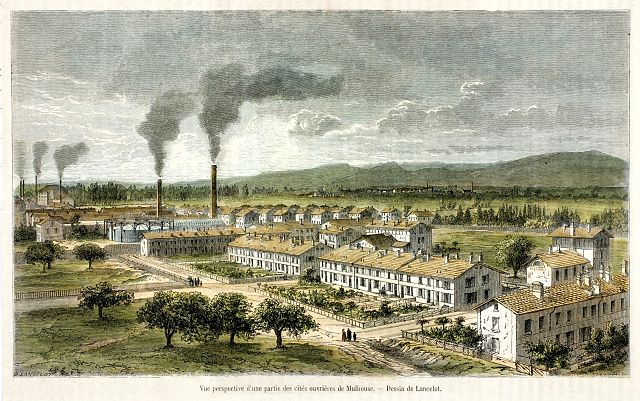 Cités_Ouvrières_de_Mulhouse_vers_1855, domaine public.