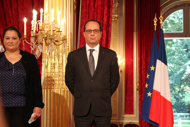 François Hollande - Prix de l'Audace artistique et culturelle 2015 credits Actualitté (CC BY-SA 2.0)