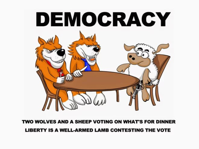 La démocratie, c'est deux loups et un agneau votant ce qu'il y aura au dîner. La liberté, c'est un agneau bien armé qui conteste le scrutin.