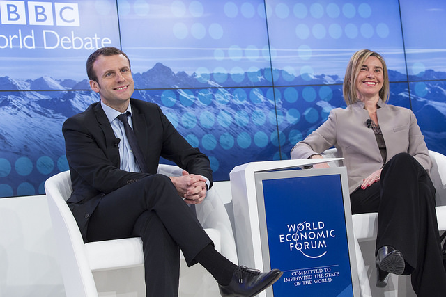 Emmanuel Macron et Federica Mogherini au World Economic Forum