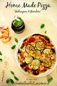 1 br Pizza ai pomodori secchi con melanzane, gamberi e pinoli