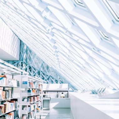Bright Library With Windows