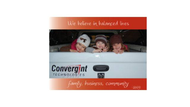 Little kids in the back of a Convergint truck Calendar header image