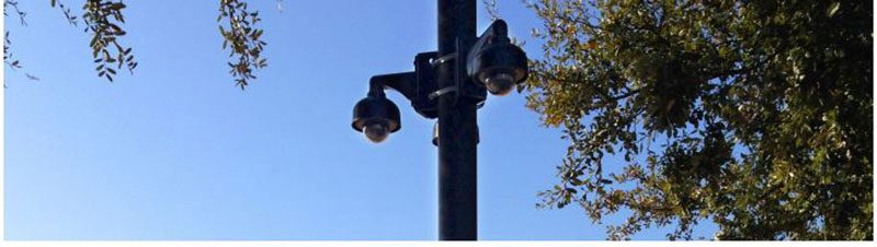 security cameras on a light post