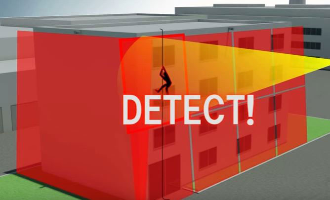 Laser image detects building intruder breaking in