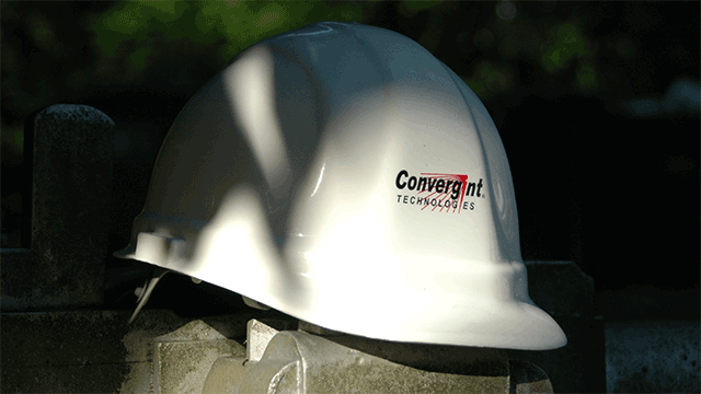 Convergint Technologies white hard protective helmet