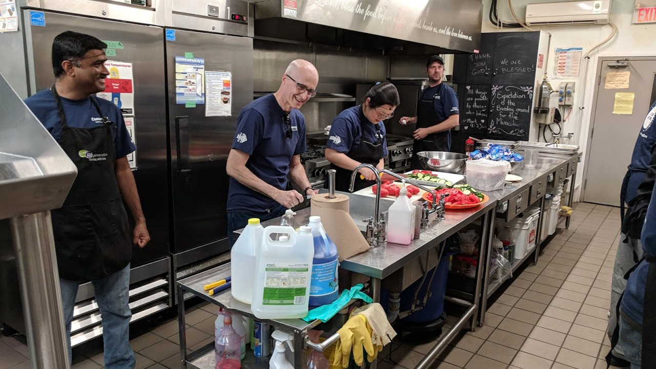 Convergint colleagues preparing food