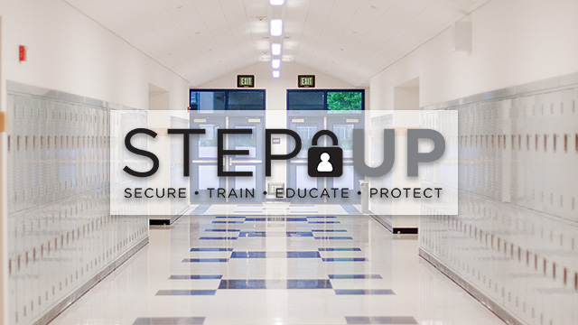School hallway with STEP Up logo over it