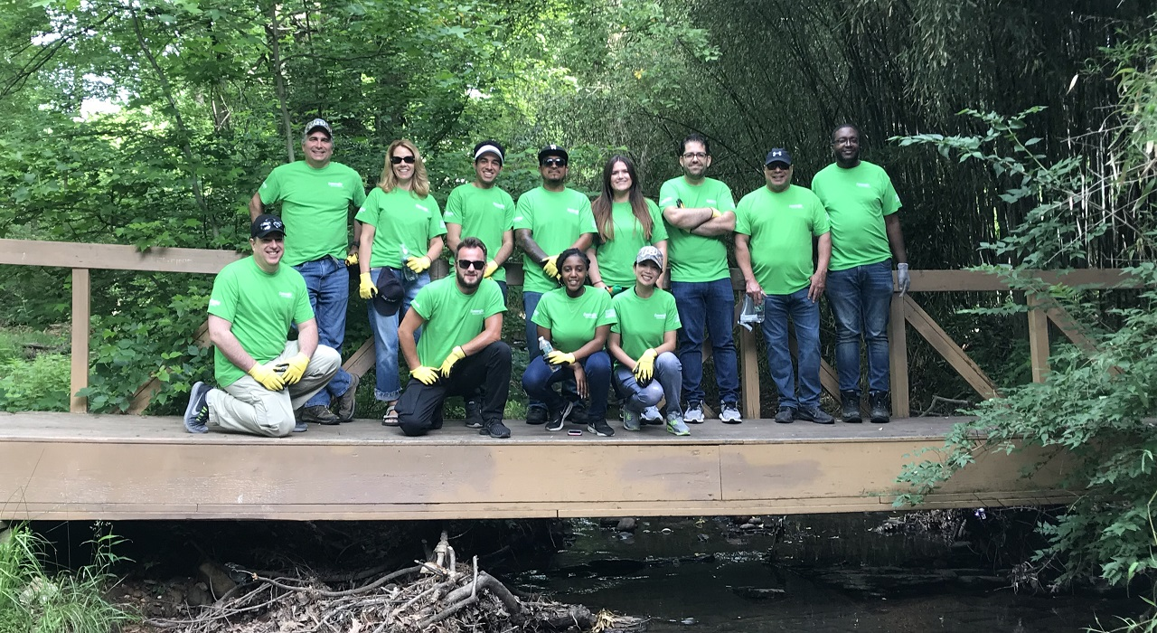 Colleagues cleaning up in a local forest preserve
