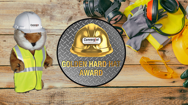 Golden hard hat logo with caddy shack gopher in vest