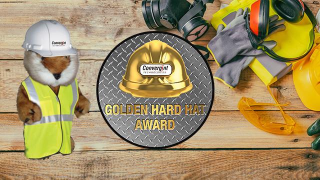 Golden hard hat logo with caddy shack gopher in vest