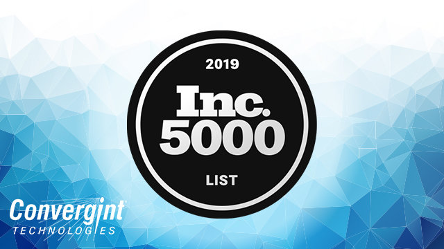 Inc 5000 logo over blue geometric background with Convergint logo in the bottom left corner