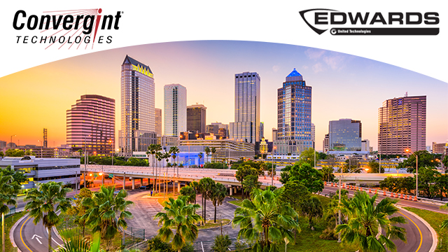Tampa Florida Skyline with logos on top of white arch