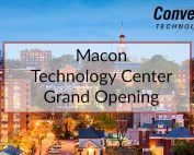 Macon skyline with grand opening overlay