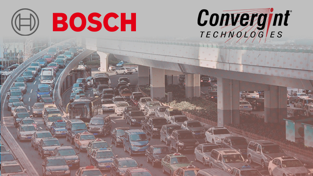 Cars driving with Bosh and Convergint logo overlay