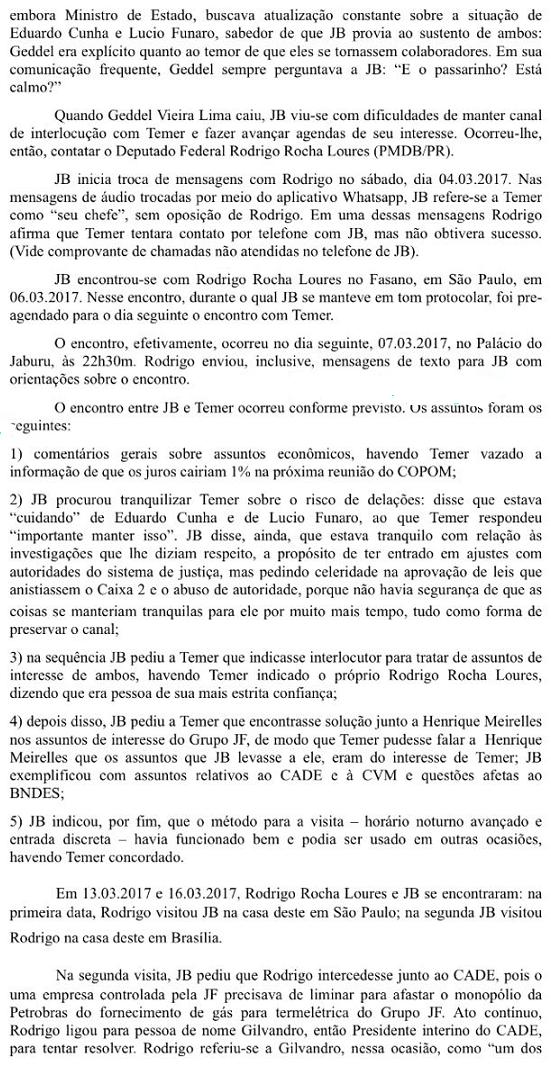 Anexo da delação de Joesley Batista, citando o atual presidente Michel Temer - Parte 2