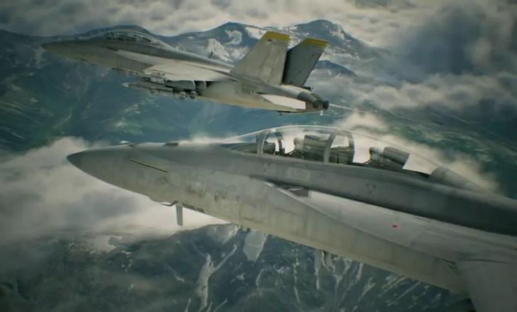 ace combat 7 aviões sobrevoando