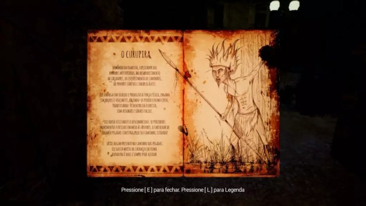 Documento que conta sobre a lenda do Curupira