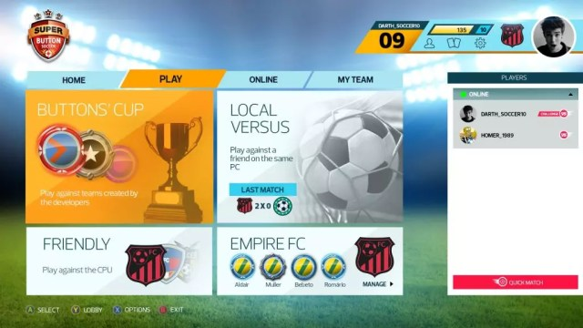 Super Button Soccer Menu