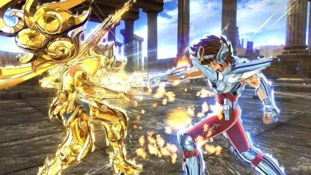 Seiya vs Aiolia em Cavaleiros do Zodíaco: Alma dos Soldados