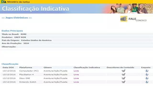 Classificação indicativa para o jogo Rime no site do ministério da justiça