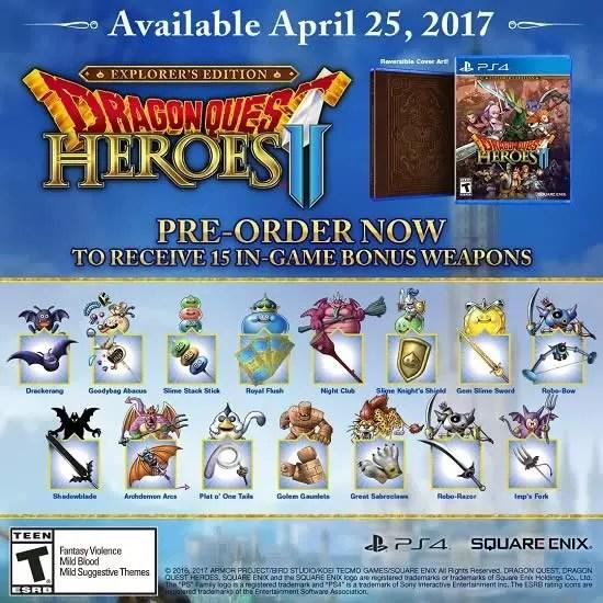 Edição especial do PS4 do Dragon quest Heroes 2