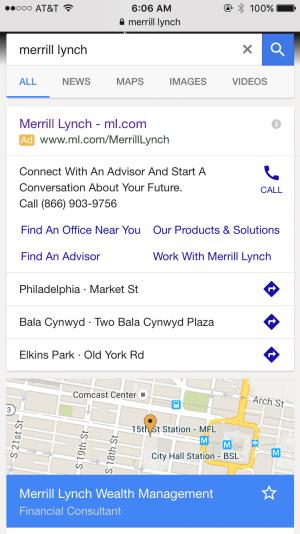 merrill lynch mobile adwords campaign