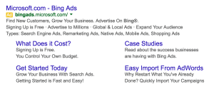 Bing ad sitelinks on Google