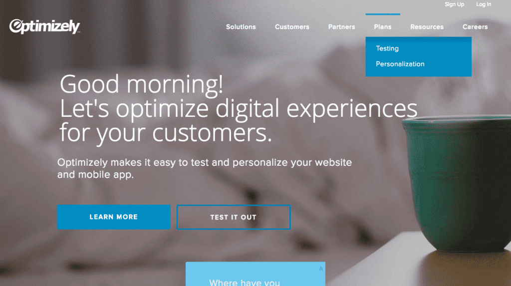 Optimizely landing page with drop-down