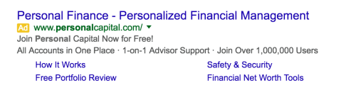 Personal Capital sitelinks