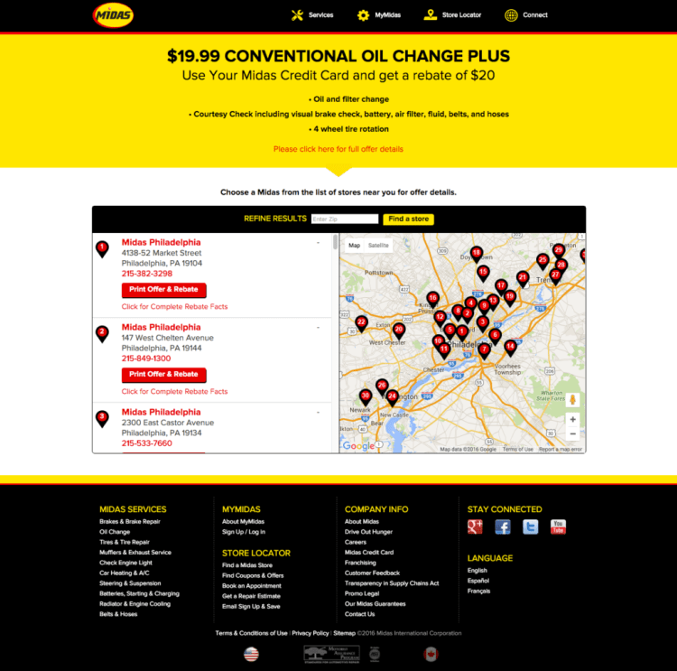 Midas Landing page for their ppc oil change campaign
