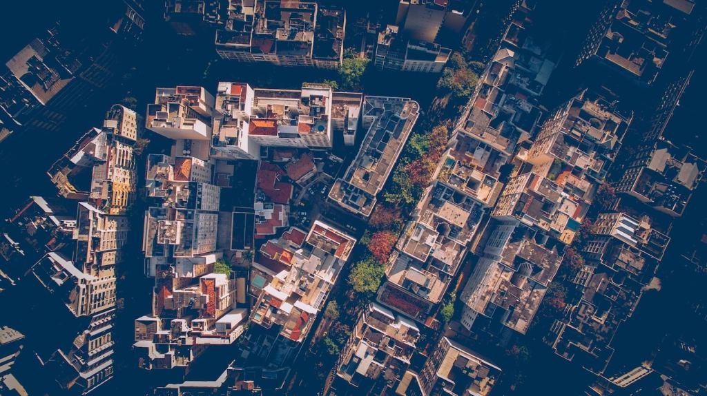 Aerial city photograph