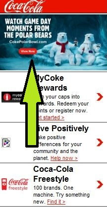 Mobile Landing Page Example: Coca Cola
