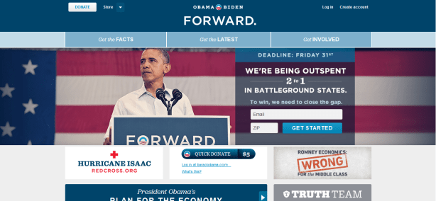 barak obama homepage optimization election 2012