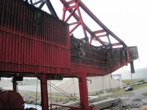 Offloading conveyor completely destroyed by fire