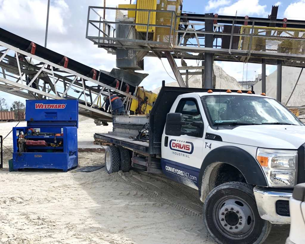 work truck on site with job box