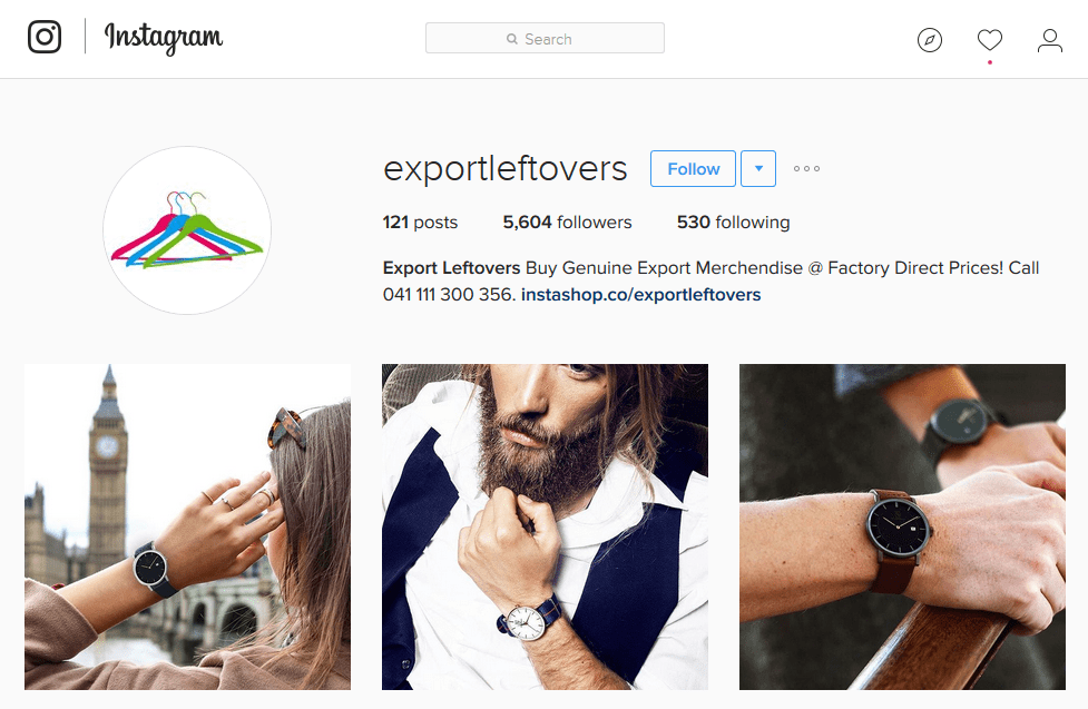 Example of an Instagram clickable storefront