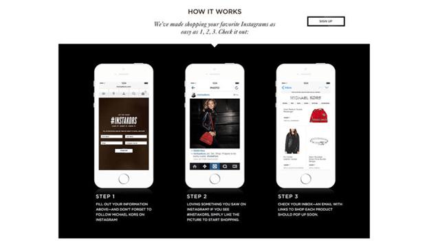 Image showing Michael Kors Instagram shopping process