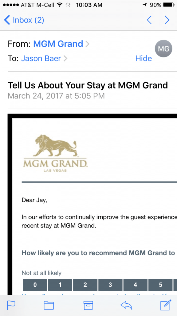 MGM NPS survey mobile