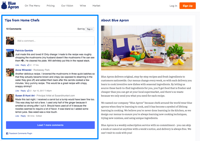 Blue Apron uses Facebook for community management