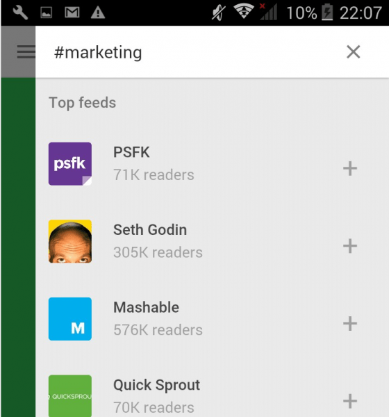 Browse online publications with Feedly