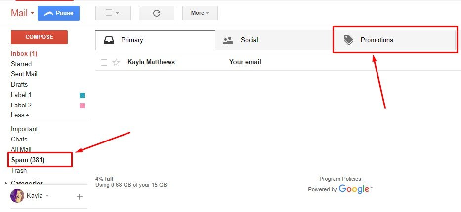 Advise People to Check Their Promotions Tab and Spam Folder