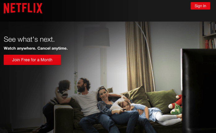 Netflix landing page example