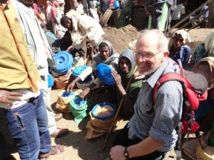 Peter McFadden with honey sellers in Bahir Dar Market, Ethiopia, Decermber 2014